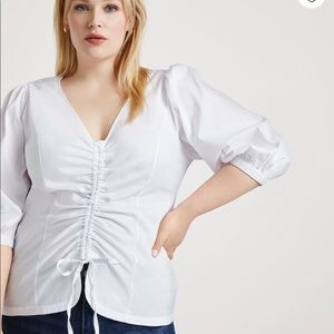 Eloquii V-Neck Top with Gathered Front